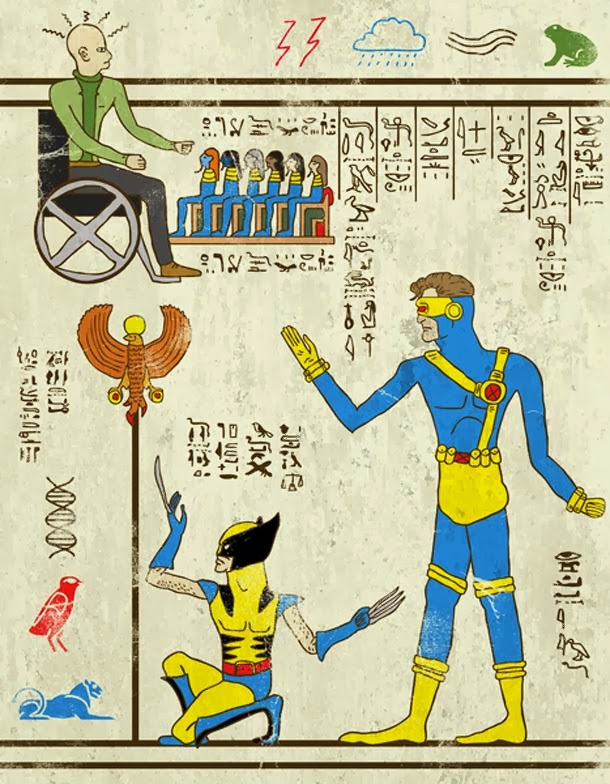 Hero-Glyphics. Superheroes as ancient Egypt drawings
