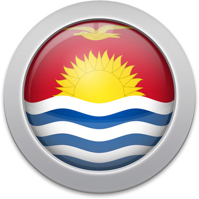 I-Kiribati flag icon with a silver frame