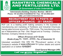 RCF Limited Officer Finance Advertisement 2017 www..indgovtjobs.in
