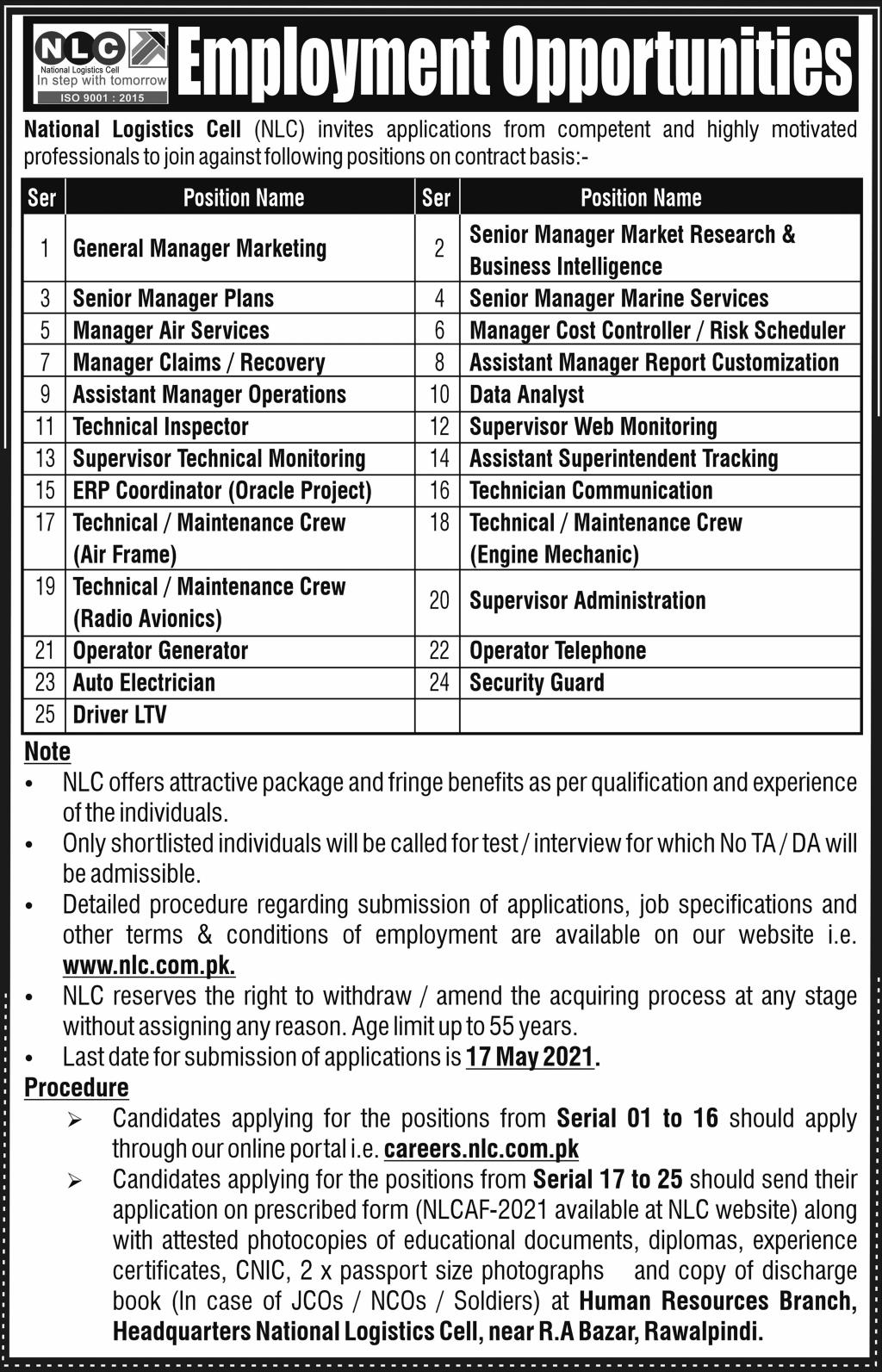 This page is about National Logistics Cell (NLC) Jobs May 2021 Latest Advertisment. National Logistics Cell (NLC) invites applications for the posts announced on a contact / permanent basis from suitable candidates for the following positions such as General Manager Marketing, Senior Manager Plans, Senior Manager Marine Services, Manager Air Services, Manager Cost Controller/Risk Scheduler, Manager Claims/Recovery, Assistant Manager Report Customization, Assistant Manager Operations, Data Analyst, Technical Inspector, Supervisor Web Monitoring, Supervisor Technical Monitoring, Assistant Superintendent Tracking, ERP Coordinator, Technician Communication, Technical/Maintenance Crew (Air Frame), Technical/Maintenance Crew (Engine Mechanic), Technical/Maintenance Crew (Radio Avionics), Supervisor Administration, Operator Generator, Operator Telephone, Auto Electrician, Security Guard, Driver LTV. These vacancies are published in Express Newspaper, one of the best News paper of Pakistan. This advertisement has pulibhsed on 02 May 2021 and Last Date to apply is 17 May 2021.