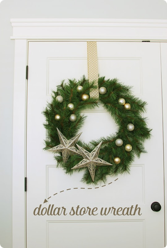wreath made from dollar store supplies