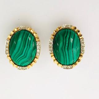 14K Gold, Diamond, and Malachite Earrings