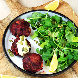 Cumin flavoured Beetroot And Beef Mince Burger.
