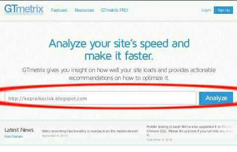 cara tes kecepatan loading blog