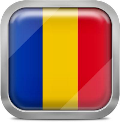 Romania square flag with metallic frame