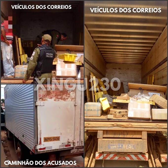 Caminhão dos correios é saqueado na BR230 em Novo Repartimento, PM de Pacajá recuperou carga.