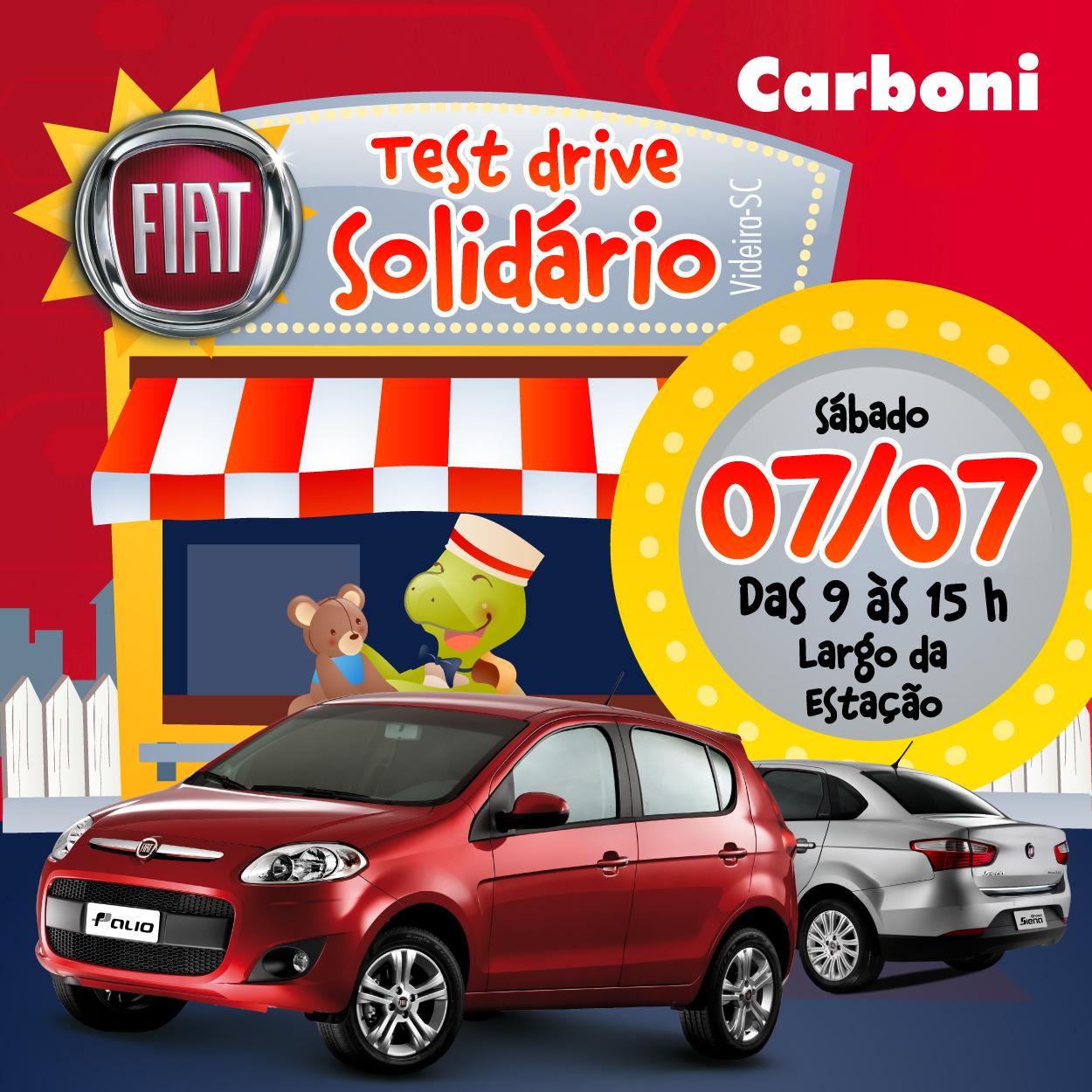 Carboni Fiat realiza ação de test drive solidário neste sábado no Largo da Estação EVENTO 01