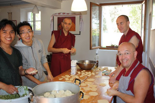 Making momos at Nalanda Monastery during Lama Zopa Rinpoche's visit, October 2011, France.
