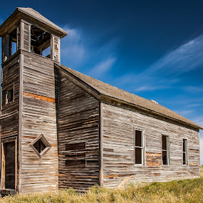 Empty Pews by Mike Lee - Buildings & Architecture Decaying & Abandoned ( church, rustic building, montana, old church, prairie,  )