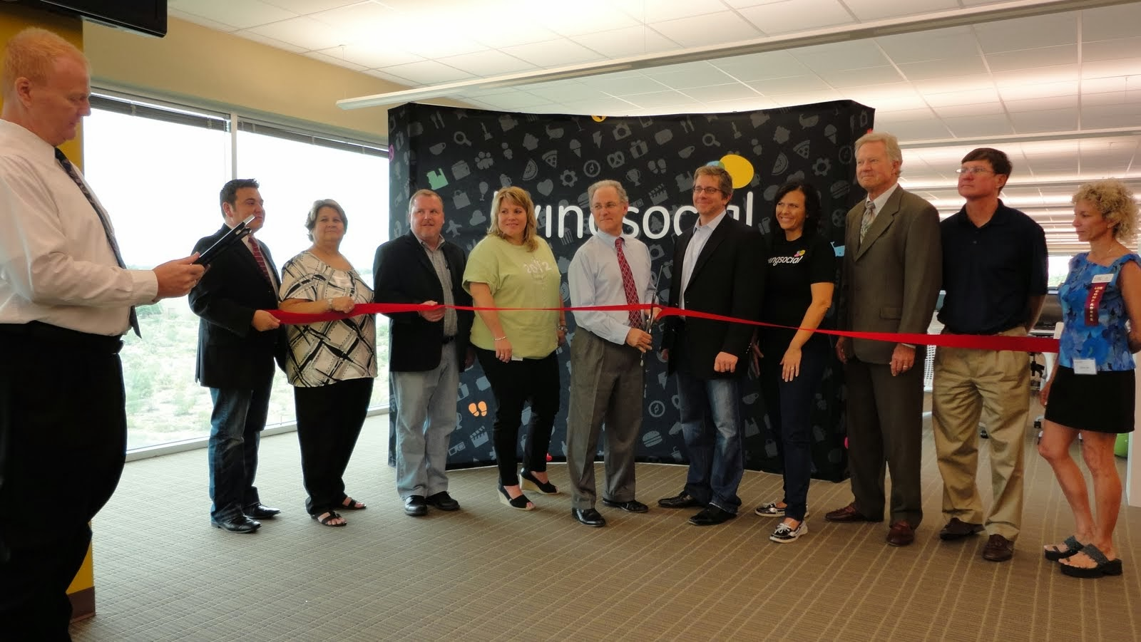 Ribbon cutting ceremony for LivingSocial's Tucson location.