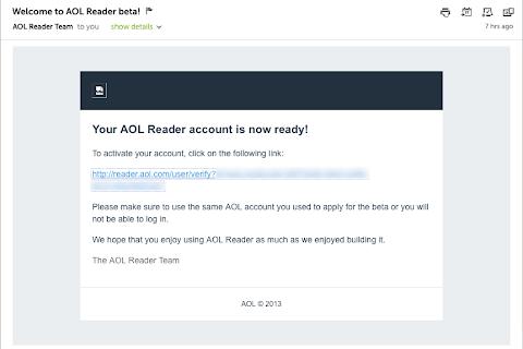 AOL Reader招待メール