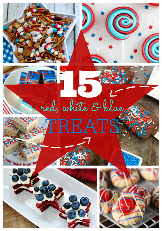 15 Red, White & Blue Treats at GingerSnapCrafts.com #redwhiteandblue #recipes