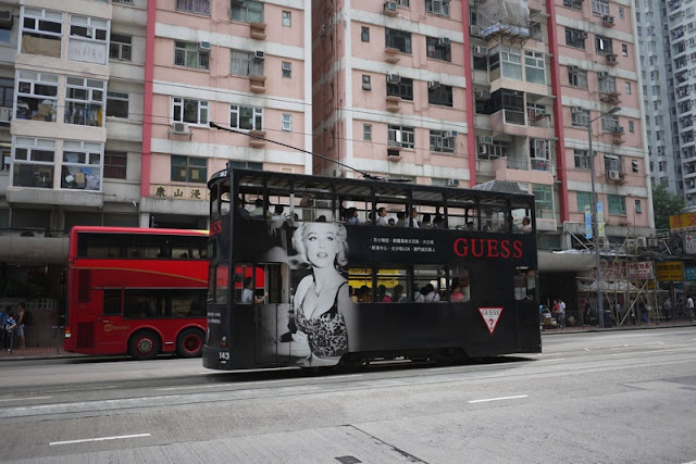Tram in Hong Kong with Guess advertising