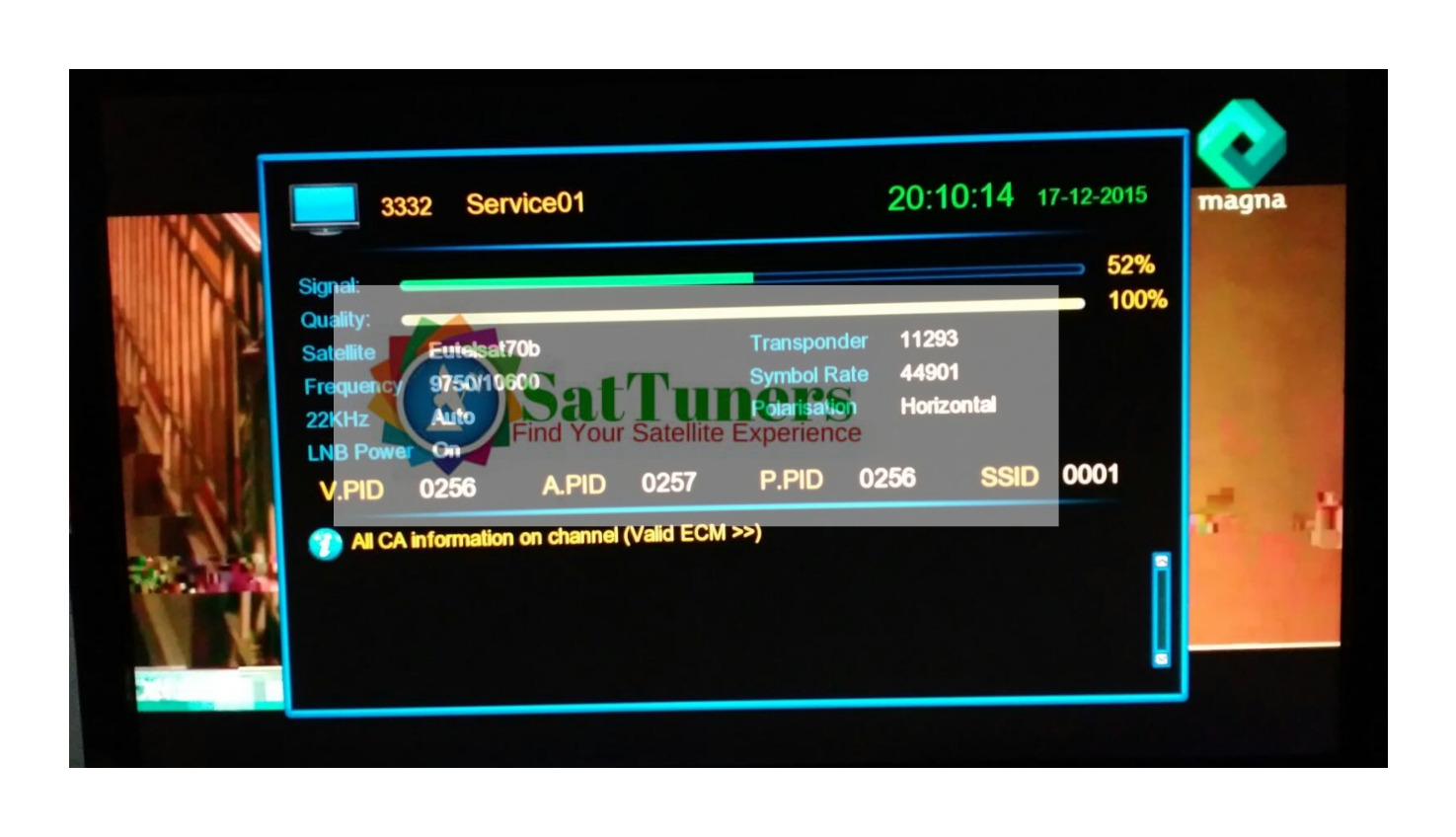 New Malayalam Channel Magna Tv Test Signal Started In Eutelsat 70b