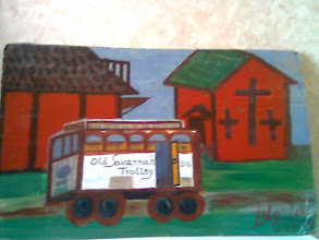 "Photo: ""Old Savannah Trolley"" acrylics on cardboard, about 3 ft wide and 2 ft high from a scene I saw in Savannah GA when I visited my cousin there. This image is on several websites of mine also including http://gloriapoole-RN.com ."