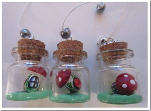 Tiny mushroom in a bottle decorations