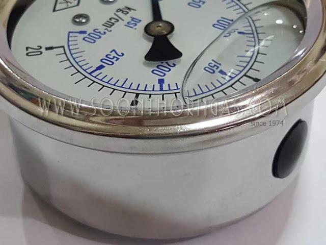 เกจ์วัดแรงดันแก๊ส หน้าปัดมีน้ำมัน