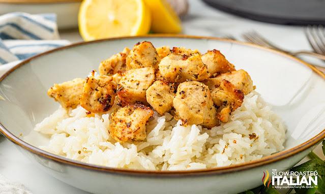 Lemon Chicken Bites Recipe (Air Fryer) on rice