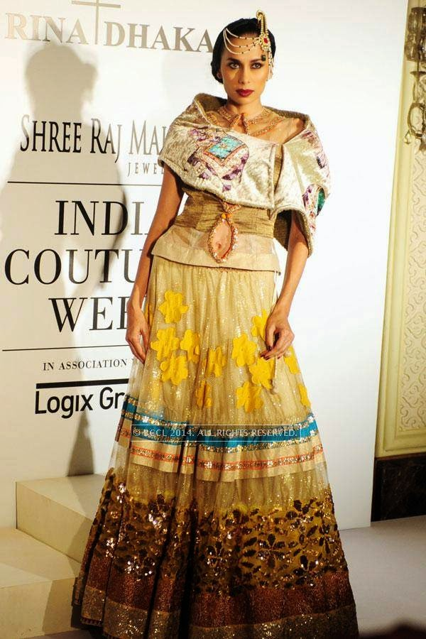 Sonalika Sahay poses for Rina Dhaka on Day 2 of India Couture Week, 2014, held at Taj Palace hotel, New Delhi.