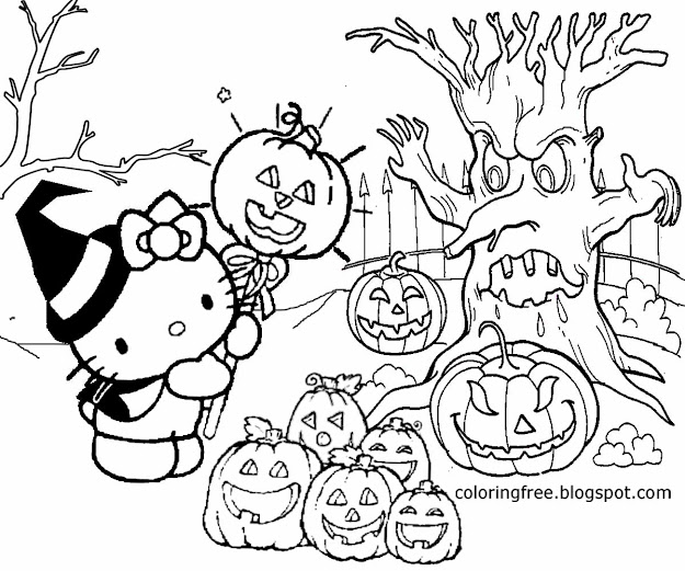 Jack Olantern Old Woodland Graveyard Hello Kitty Halloween Coloring Pages  For Teenagers To Printout