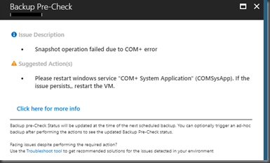 Hemal Ekanayake: Snapshot operation failed due to COM+ error - Azure
