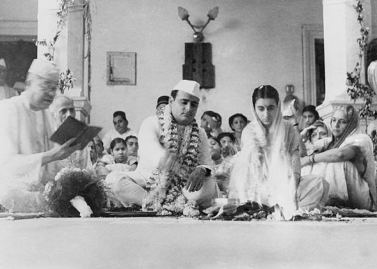 The Marriage of Indira Gandhi and Feroze Gandhi - March 26, 1942 at Anand Bhawan, Allahabad