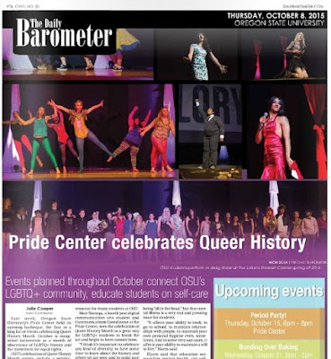 Pride Center Celebrates Queer History, OSU barometer Oct. 8, 2015, p. 1