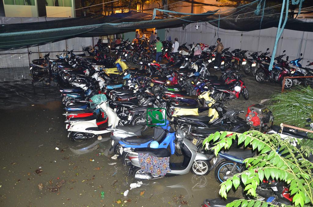 Mưa ngập hết xe máy ở Sài Gòn