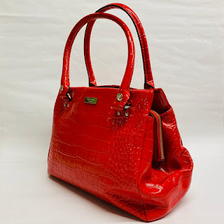 Kate Spade Embossed Red Leather Shoulder Bag