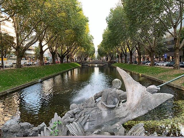 Lush canal neighborhoods at Dusseldorf, Germany