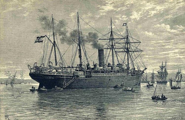 Vapor Correo REINA MARIA CRISTINA. Grabado aparecido en la Revista de Navegacion y Comercio. Año 1893.jpg