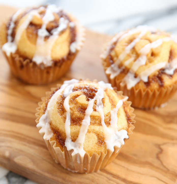 photo of three Cinnamon Roll Muffins