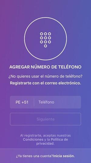 Registrarse en Instagram con número telefónico