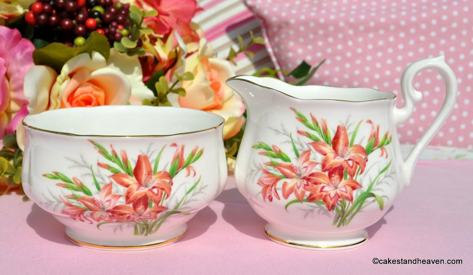 Royal Albert Gladiolus Friendship Series creamer and sugar bowl