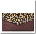 Dune chain detail leopard and burgundy clutch