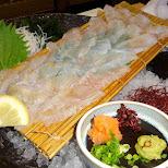 flonder sashimi at Zauo self-fishing restaurant in Shinjuku, Tokyo - Japan in Shinjuku, Tokyo, Japan