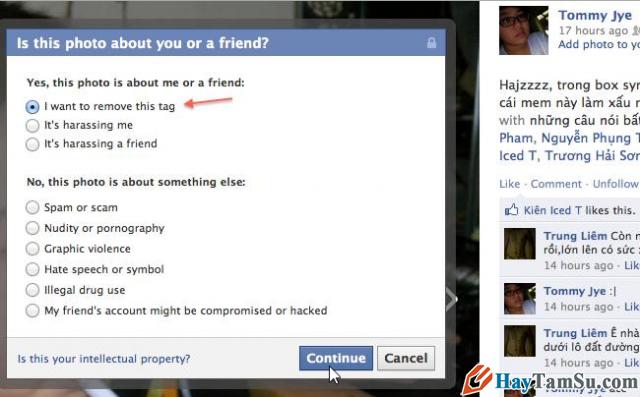 xóa bỏ gắn thẻ trên facebook, remove tag facebook