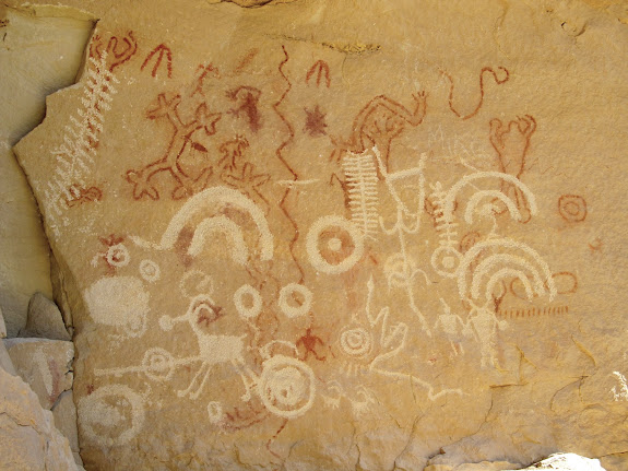 Short Canyon pictographs with overlaid petroglyphs