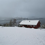 Våningshuset vintersdag.