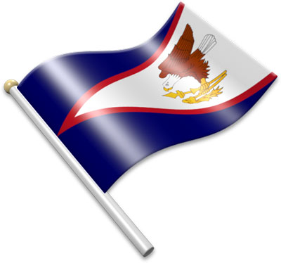 The  American Samoan flag on a flagpole clipart image