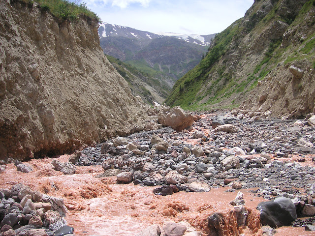 Ganishou, 2300 m ; prospection au bord du torrent, 25 juillet 2008. Photo Jean-Marie Desse