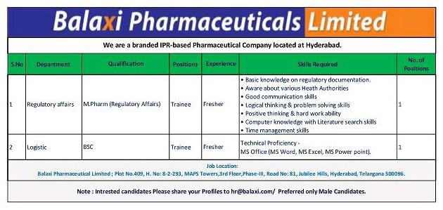 Freshers Opening For Regulatory Affairs At Bilaxi Pharmaceuticals