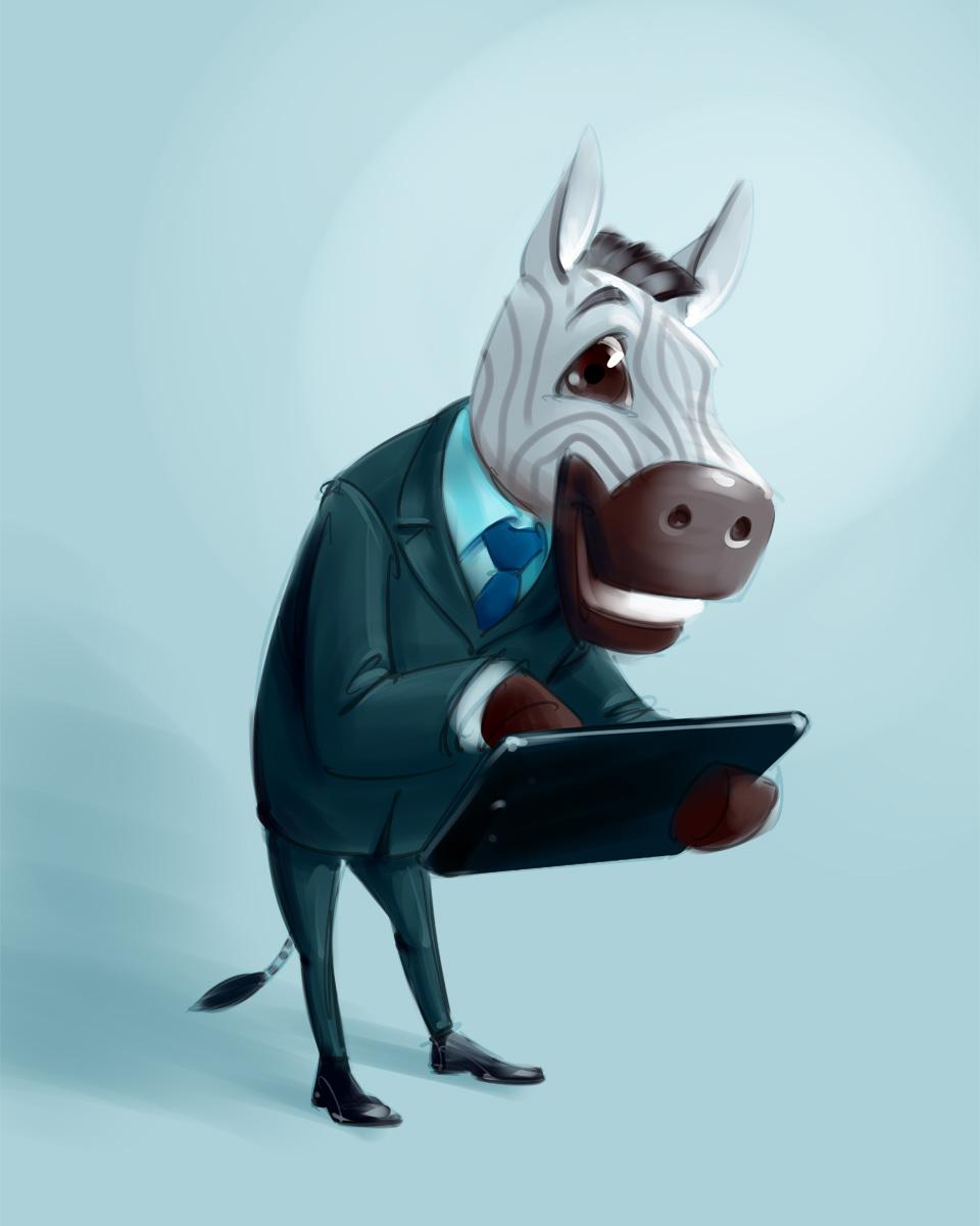 Zebra businessman mascot concept