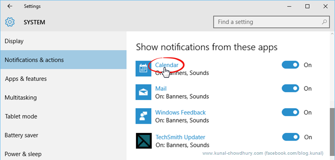 App Notifications in Windows 10 (www.kunal-chowdhury.com)