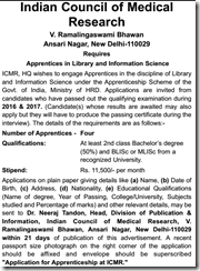 ICMR Apprentices Notice 2017 www.indgovtjobs.in