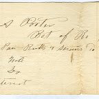 This is the oldest receipt that we have that originally belonged to our Andrew J. Porter. It, along with several other iou's and tax receipts were passed down to his son, a grandson, and a great granddaughter. So this paper belonged to our Andrew J. Porter. However, if it is dated 1832 (hard to read), our Andrew J. Porter would have only been 9 or 10 years old (born 1822-23 Wythe county.) So who is this Mr. A. Porter? Our Andrew J. Porter, his father, uncle or grandfather? It looks to me to be some type of store receipt? Bot of Robert M. Jones? July 21, 1832 oe 1836?