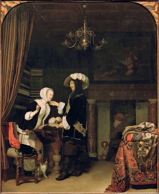 Frans van Mieris the Elder - Cavalier and Merchant Girl, 1660