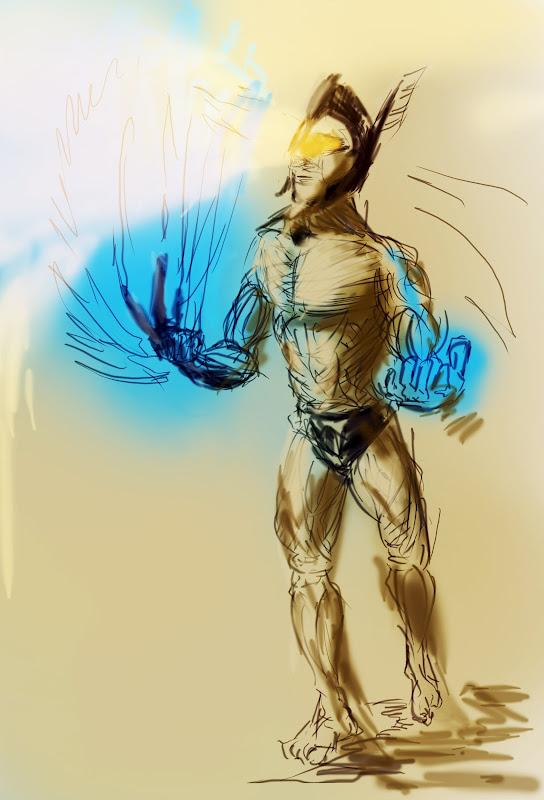 Helios Greek Sun God Sketch