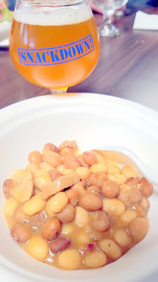 Snackdown 2016 The Bent Brick presented what they called a Pig Picnic with porky picnicky vibes in a pork and beans stew / Block 15 Brewing brought their Sticky Hands IPA