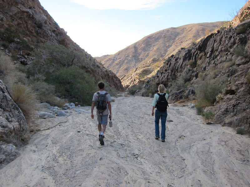 Hiking back down Rockhouse Canyon - Anza Borrego